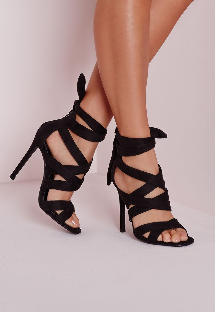 Missguided - Lace Up Gladiator Heels  Black
