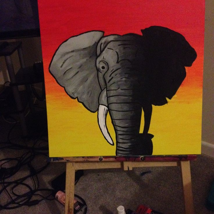 Start to Finish elephant sunset acrylic painting