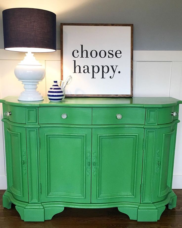 Cheerful and fun sideboard for an office painted with Chalk Paint® in Antibes Green and Clear Chalk Paint® Wax | Project by Annie Sloan Stockist MD Haney & Co in McMinnville, OR