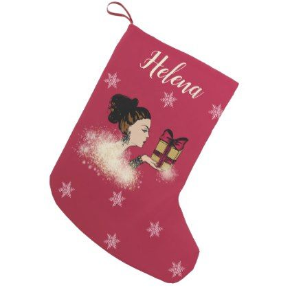 christmas sparkling fashion illustration small christmas stocking - glamour gifts diy special unique