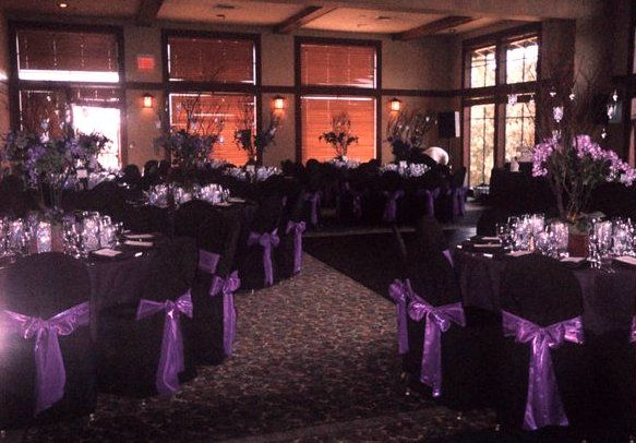 Trying to decide...Black tableclothes and black chair covers for the wedding