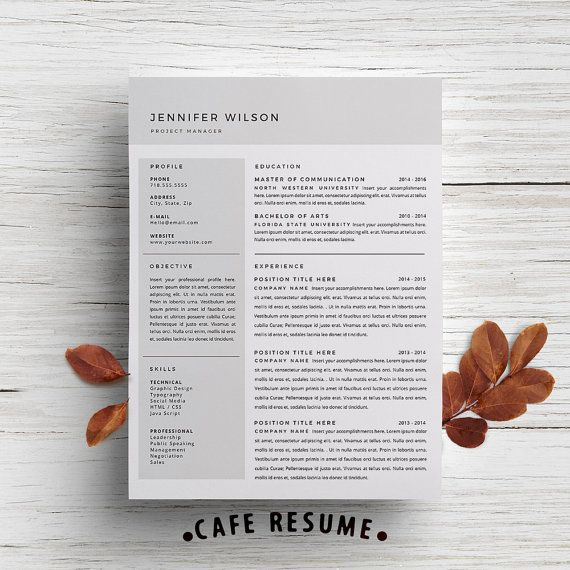 resume template cover letter template for word diy printable 3 page project manager instant digital download - Cover Letter For Resume Template