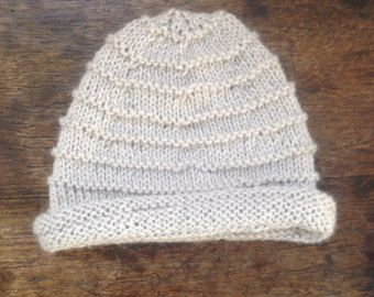Rolled brim baby hat by FrostandFibre on Etsy