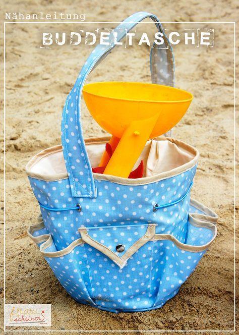 Tasche für Sandspielzeug nähen, Muscheln sammeln am Strand, Spielplatztasche Schnittmuster, Nähanleitung und Ebook, Kindertasche, Gartentasche, Tasche für Gartenarbeit, beschichtete Baumwolle und Wachstuch