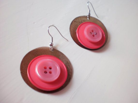 brown round earrings with vintage buttons by KaterinakiJewelry, $5.50