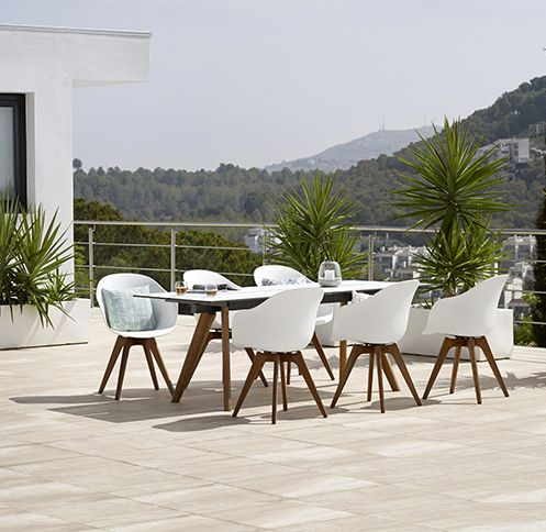 Imagine enjoying a nice meal under the blue sky in these beautiful design pieces - Modern outdoor furniture designed by Henrik Pedersen for BoConcept