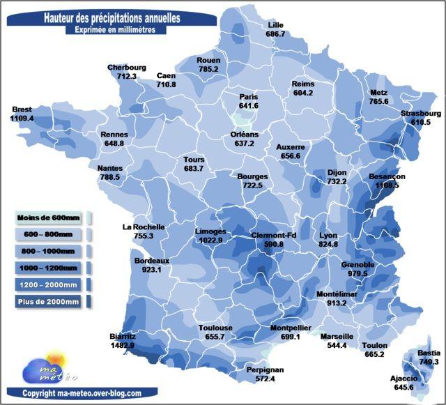 Carte du cumul de precipitation en France et par région
