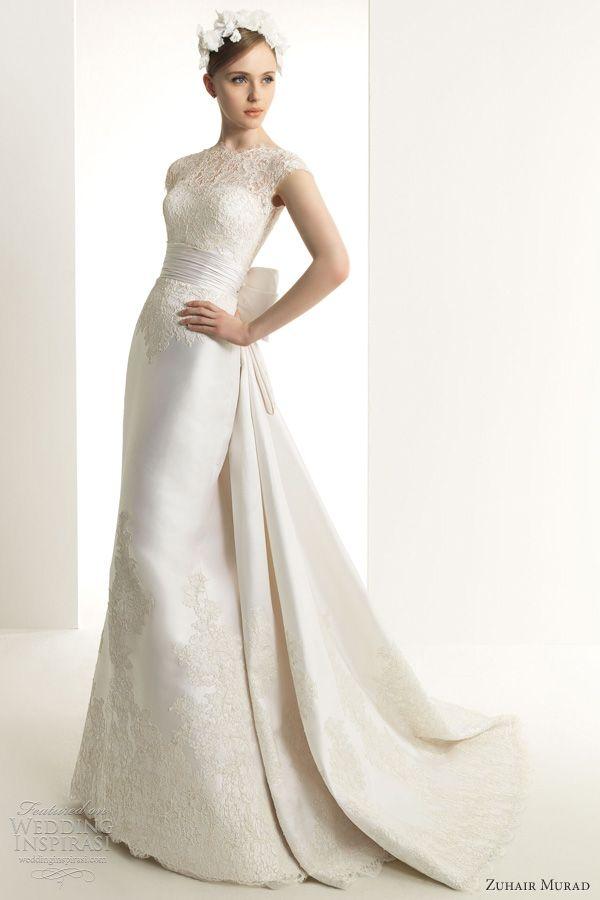 zuhair murad 2013 bridal karina lace wedding dress cap sleeves gown