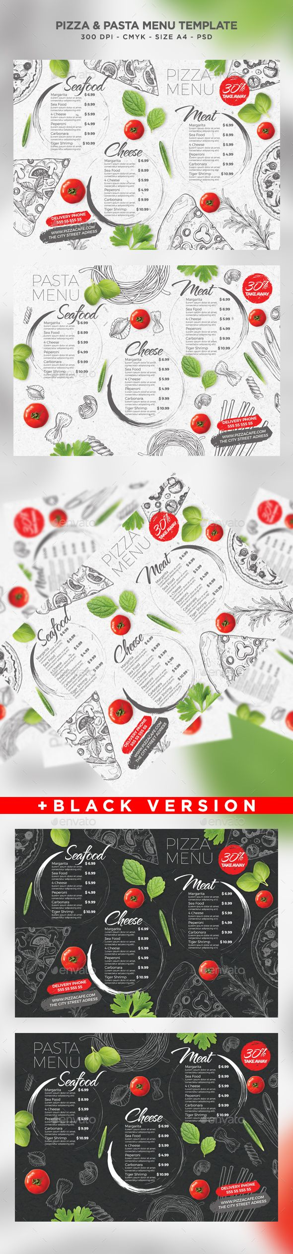 Pizza and Pasta Menu - Food Menus Print Templates Download here : https://graphicriver.net/item/pizza-and-pasta-menu/19615924?s_rank=34&ref=Al-fatih
