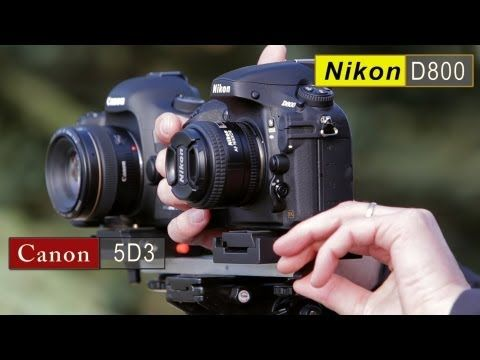 video on the pros and cons of Nikon D800 vs. Canon 5D Mark III