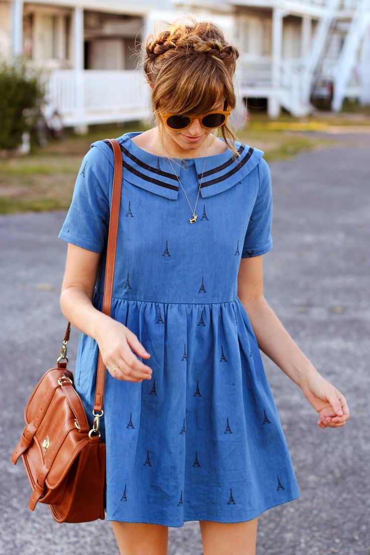 sailor dress with eiffel tower print