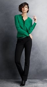 kelly green. cute outfit & i love the short hair :)