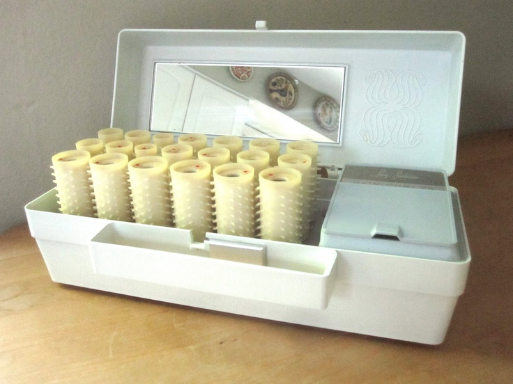 Lady Sunbeam Electric Hair Rollers in Ice Blue Travel Case. $18.00, via Etsy.