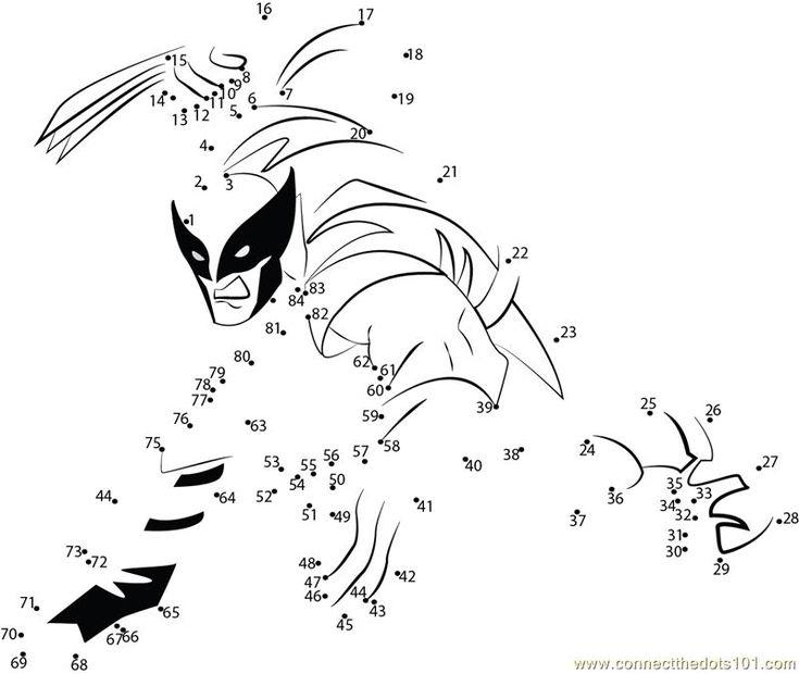 x men worksheets   Connect the Dots X-men superhero (Cartoons > X men)