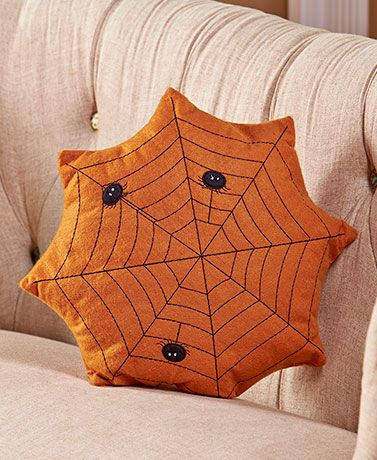 798 primitive country halloween pillows spiderweb - Halloween Pillows