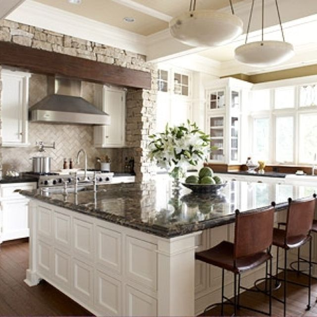 Stunning Kitchens: White Kitchen Cabinets And Walls With Dark Countertops And