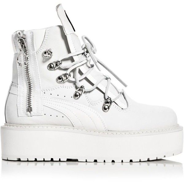 Fenty Puma x Rihanna Womens Platform Sneaker Boots (640 BGN) ❤ liked on Polyvore featuring shoes, boots, platform boots, chunky platform shoes, chunky shoes, sports shoes and chunky-heel boots