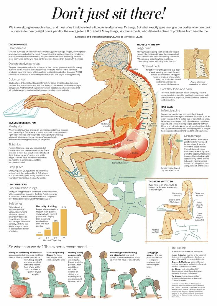 Dont Just Sit There by Bonnie Berkowitz and Patterson Clark via lifehacker: The health hazards of sitting too long. #Infographic #Sitting #Posture #Health