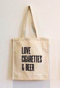 'Love, Cigarettes & Beer' Canvas Bag, Buy Unique Gifts From CultureLabel.com ($1-20) - Svpply