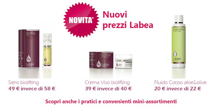 SCOPRI I NUOVI, CONVENIENTISSIMI PREZZI DELLA COSMESI DI ECCELLENZA! Dal 1° Settembre, nuovi prezzi per i nostri cosmetici! Parliamo ad esempio del Siero Biolifting in vendita adesso a 49 € invece di 58 €! SCOPRI TUTTE LE ALTRE NOVITA' PRESENTI SUL SITO SHOP ONLINE http://www.ammuina.org/labea/index.php