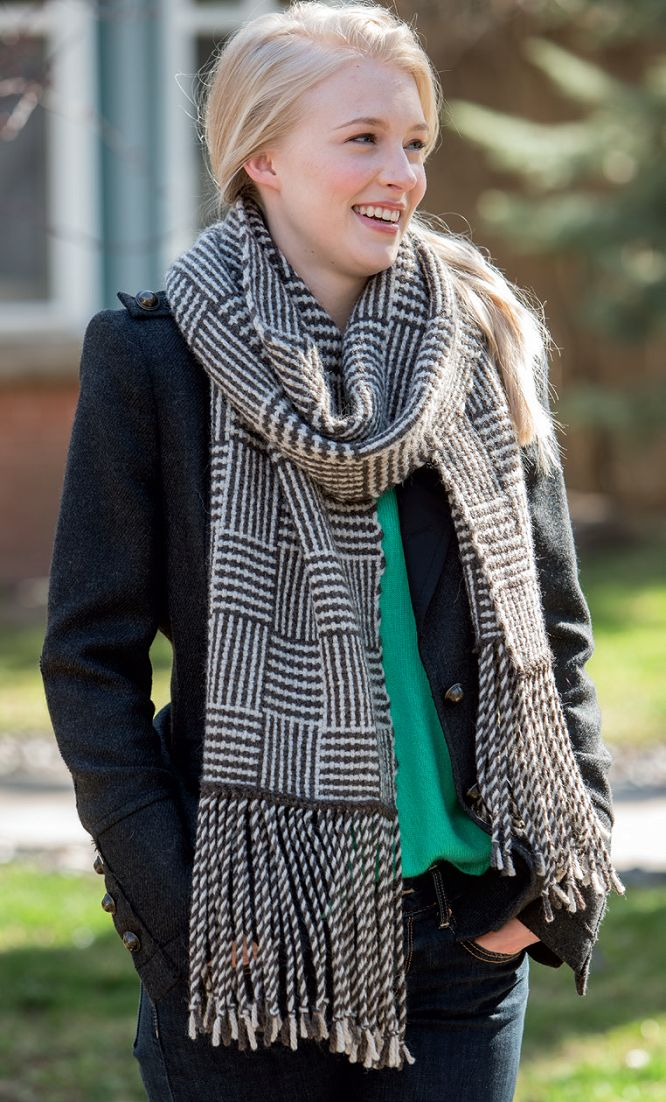 Wow does this scarf look cozy! I could see keeping a scarf like this at my desk to keep the A/C at bay! Get the pattern here in the Woven Scarves eBook.