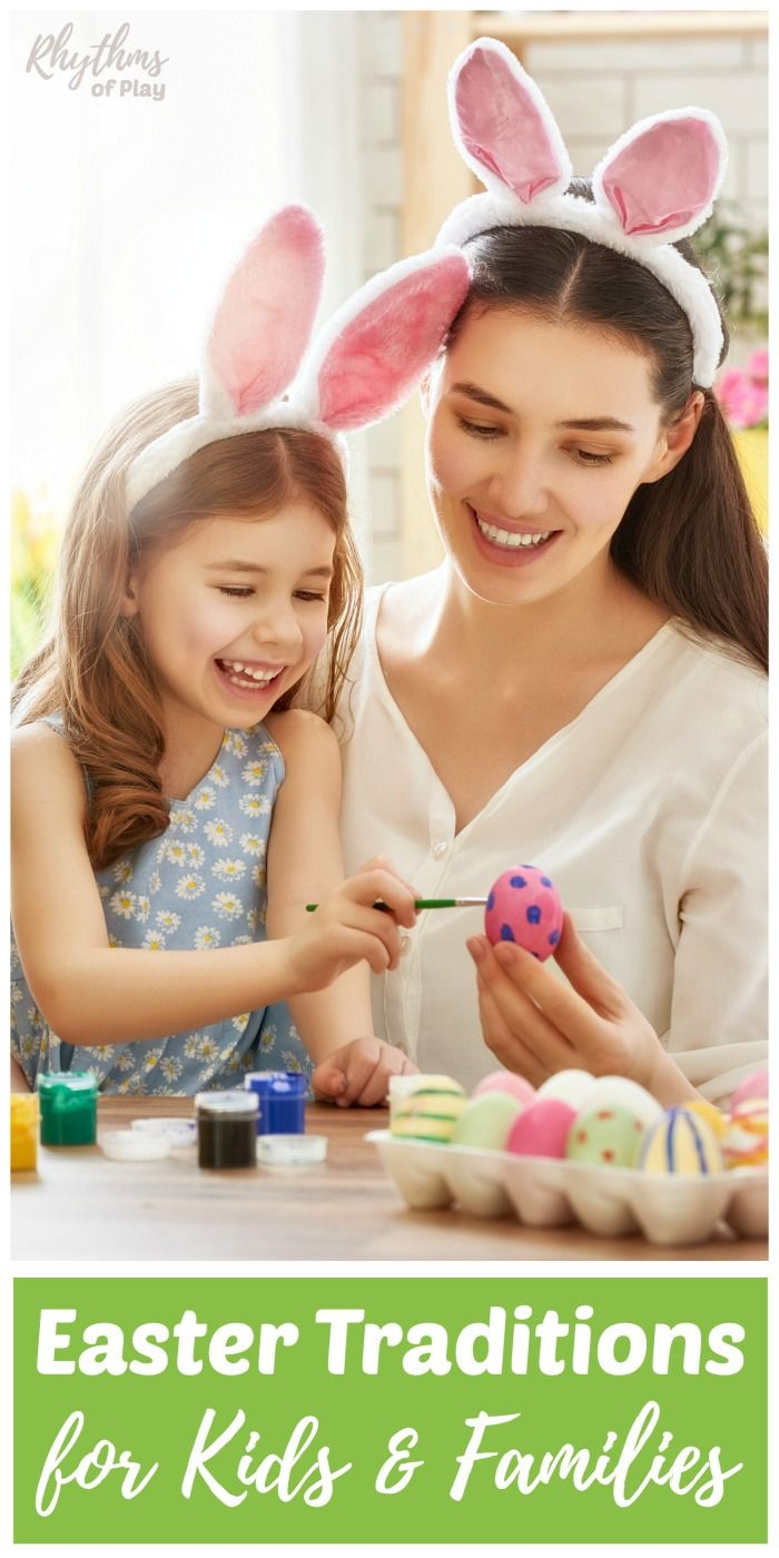 Start a new fun Easter tradition with your family this year. Meaningful Easter traditions for kids and families create memories that last a lifetime. This article includes the origins of common Easter symbols and a list of Easter traditions in America. #spring #easter #easter #traditional #familyfun #easterbunny #easterbasket #eastereggs #eastercrafts #kids #kidsactivities