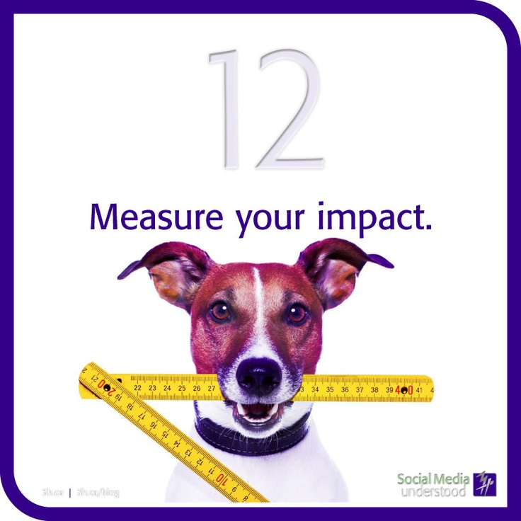 Measure your Impact. There are so many strategic measuring tools and there is a reason why. It's important! Especially to your client. Make sure you're not talking to yourself and monitor your reach to make changes or make it better! Download the 3H eBook Social Media Understood: http://3h.ca/ebook_social_media.php