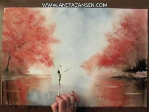 "watercolour demo - aquarelle   "" early morning"" ny Anita Jansen"