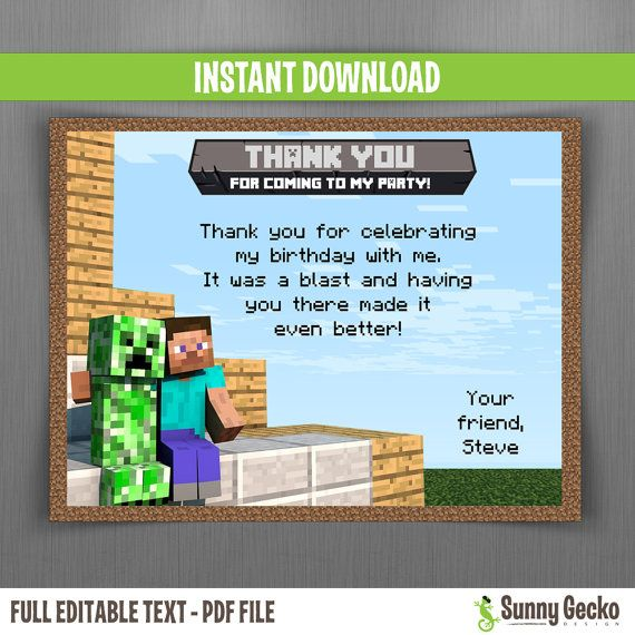 Minecraft Editable Birthday Thank You Cards Instant
