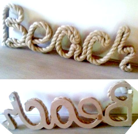 Beach rope sign. Write anything with rope or twine. Child's name, favorite teams.
