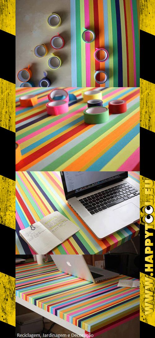 017 - Tavolo arcobaleno: Un vecchio tavolo, del nastro adesivo e un po' di precisione (giusto un po'): ecco la ricetta perfetta per creare un allegro tavolo. Ideale anche come piano di gioco per i bambini.