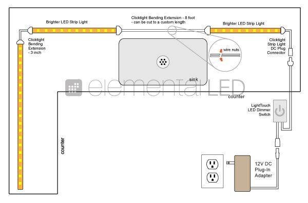 wiring diagram for kitchen unit lights kitchen-led-under-cabinet-lighting-kit-wiring-diagram | kitchen reno!!!! | pinterest | diagram ...