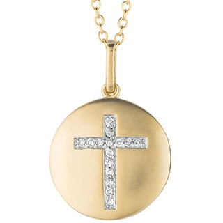 Sterling Silver Diamond Cross Necklace | Overstock.com