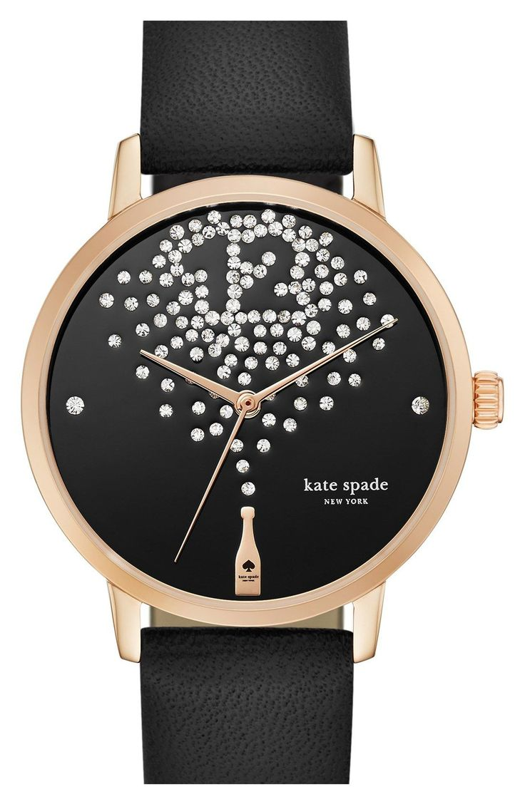 New Year's eve may only come once a year but it's always happy hour on this fun and festive watch from Kate Spade. A bottle of bubbly splashes sparkling crystals across the dial, intricately arranged to form a stylish 12 o'clock index.