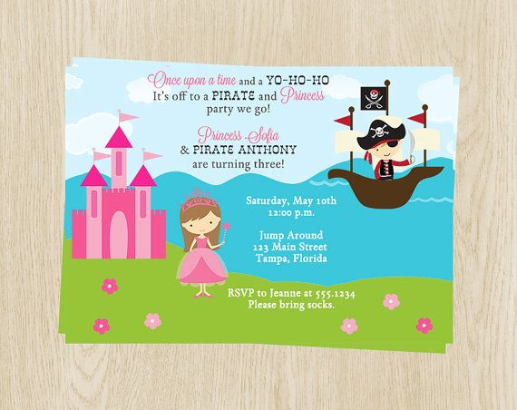 87 best pirate and princess party for twins images on pinterest princess and pirate birthday party invitations boys girls pink blue castle ship set of 10 printed cards prpnc princess and pirate filmwisefo Choice Image