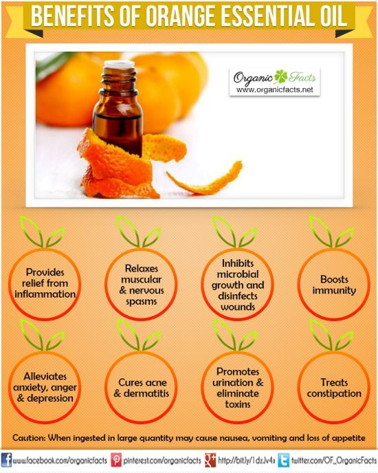 Health Benefits of Orange Essential Oil: The health benefits of Orange Essential Oil can be attributed to its properties as an anti-inflammatory, antidepressant, antispasmodic, antiseptic, aphrodisiac, carminative, diuretic, tonic, sedative and cholagogue substance.-http://goo.gl/oe0jG8