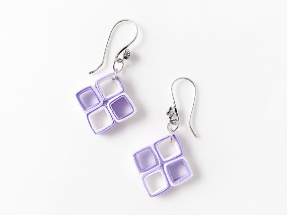Lavender and white paper quilled diamond square earrings - First anniversary gifts - by Paperica