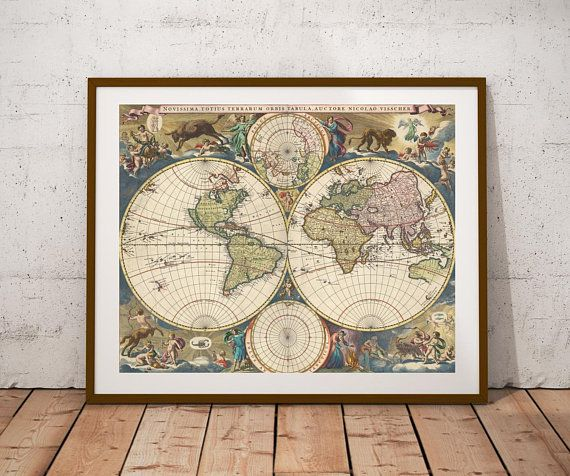 Mejores 89 imgenes de maps vintage mapstiqued world map double hemisphere digital map printntage world map posterp digital printrsery gumiabroncs Choice Image