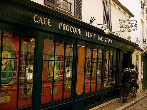 """Cafe Procope"" on Rue Buci. The philosophers would dine with Voltaire here. The French Revolution's seeds were growing and much planning was done in Paris cafes."