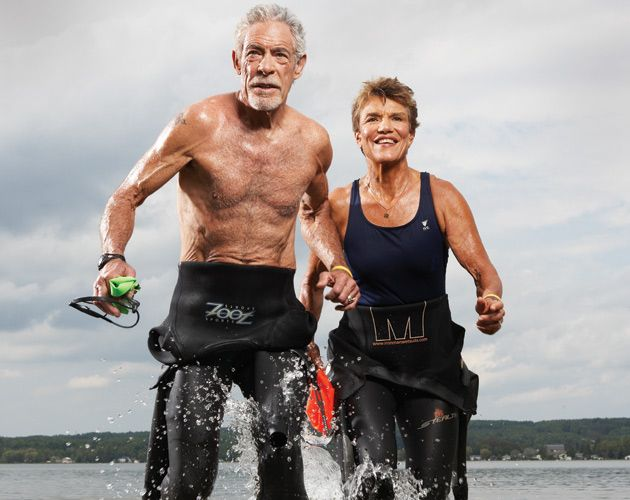 LOUISE MCGONIGAL, AGE 65, DAVE WATTS, AGE 71, PARTNERS, TRIATHLETES. (Shot in Oct. 2009)