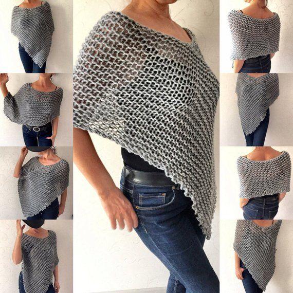 Dieser graue Poncho ist eine tolle Ergänzung zu Ihrer Garderobe für die kühle…