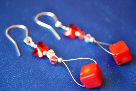 earrings with cube coral and swarovski elements