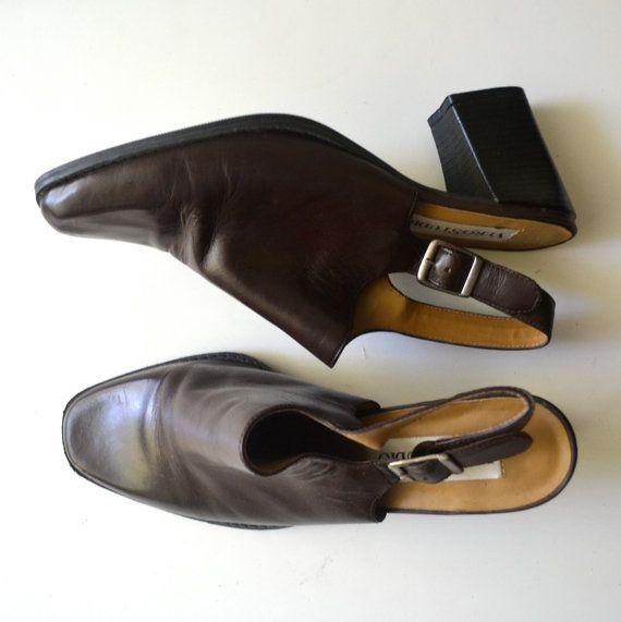 90s Slingback Mules with Chunky Heel / Brown Leather by miskabelle size 8.5 $32