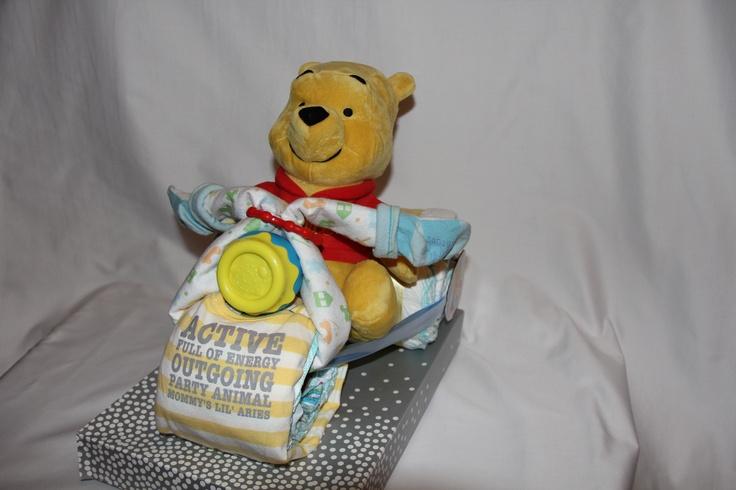 Winnie the Pooh Motorcycle Diaper Cake 2