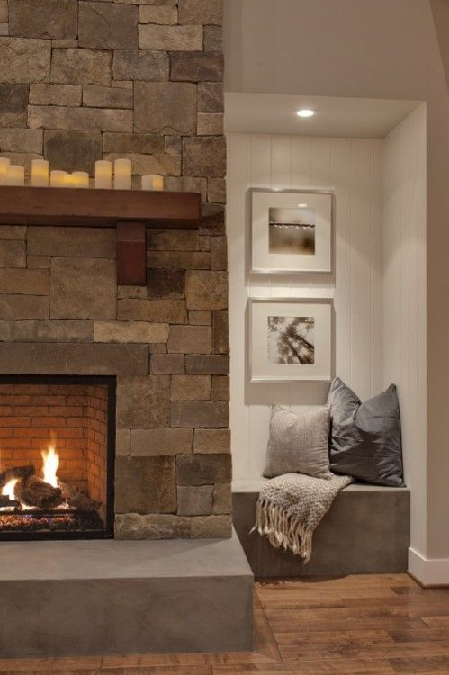 FireplaceIdeas, Stones Fireplaces, Fireplaces Design, Families Room Design, Interiors, Living Room, Family Rooms, Reading Nooks, Stone Fireplaces
