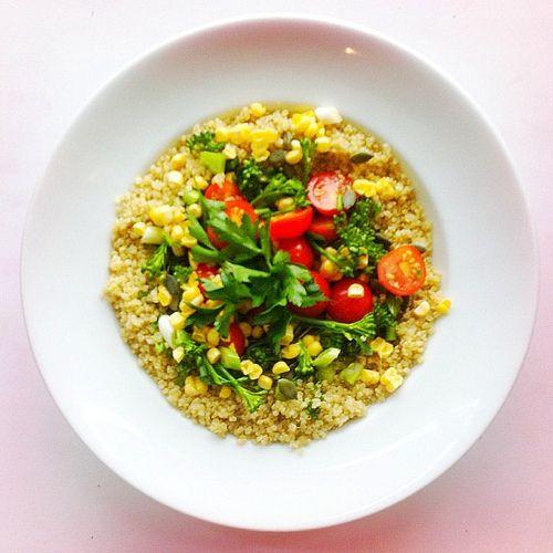 , white quinoa, broccoli, spring onions, pumpkin seeds, raw corn ...
