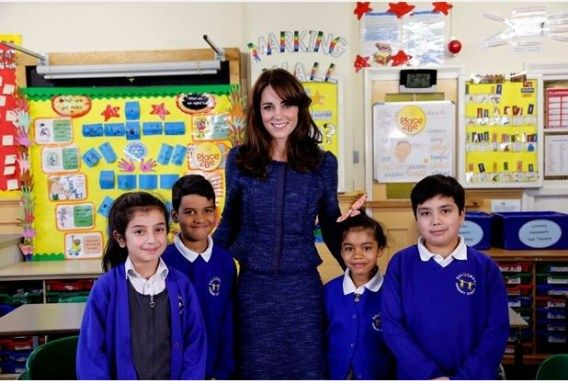 Photo issued by Place2Be of the Duchess of Cambridge with (Left to right) Nimra 10, Ryan 10, Bailey-Rae 7 and Connor 11, from Salusbury Primary School in Queen's Park, London, during filming of a video message for Children's Mental Health week. PRESS ASSOCIATION Photo. Issue date: Monday February 8, 2016. Kate is the royal patron of the children's mental health charity Place2Be
