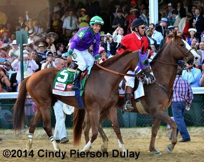 California Chrome to the winners circle after the 2014 Kentucky Derby at Churchill Downs