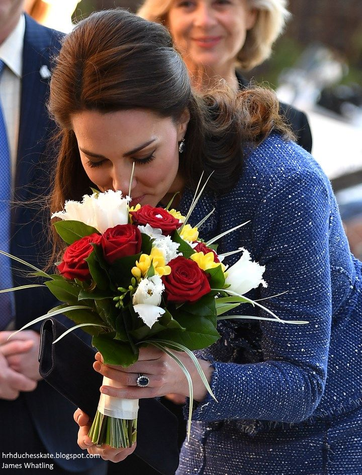 Catherine, Duchess of Cambridge receives flowers during a visit to Ronald McDonald House Evelina London on February 28, 2017 in London.