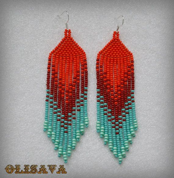 Beautiful beaded dangle peyote earrings with fringe.Native American style, Boho style. Earrings made from Czech beads. 925 sterling silver ear wires.